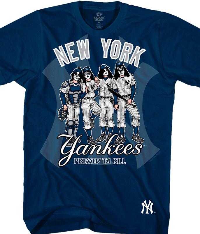 MLB New York Yankees KISS Dressed to Kill Navy T-Shirt Tee Liquid Blue