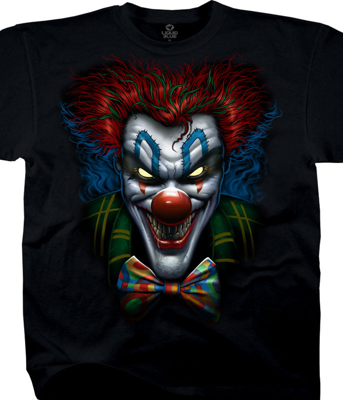 Dark Fantasy Bow Tie Clown Black T-Shirt Tee Liquid Blue