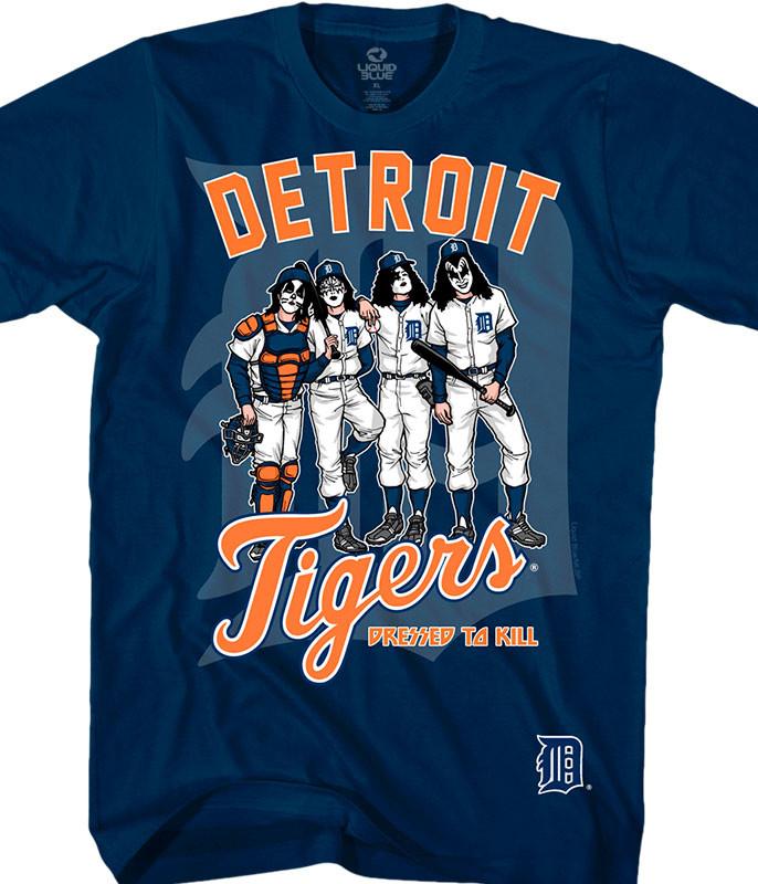 MLB Detroit Tigers KISS Dressed to Kill Navy T-Shirt Tee Liquid Blue