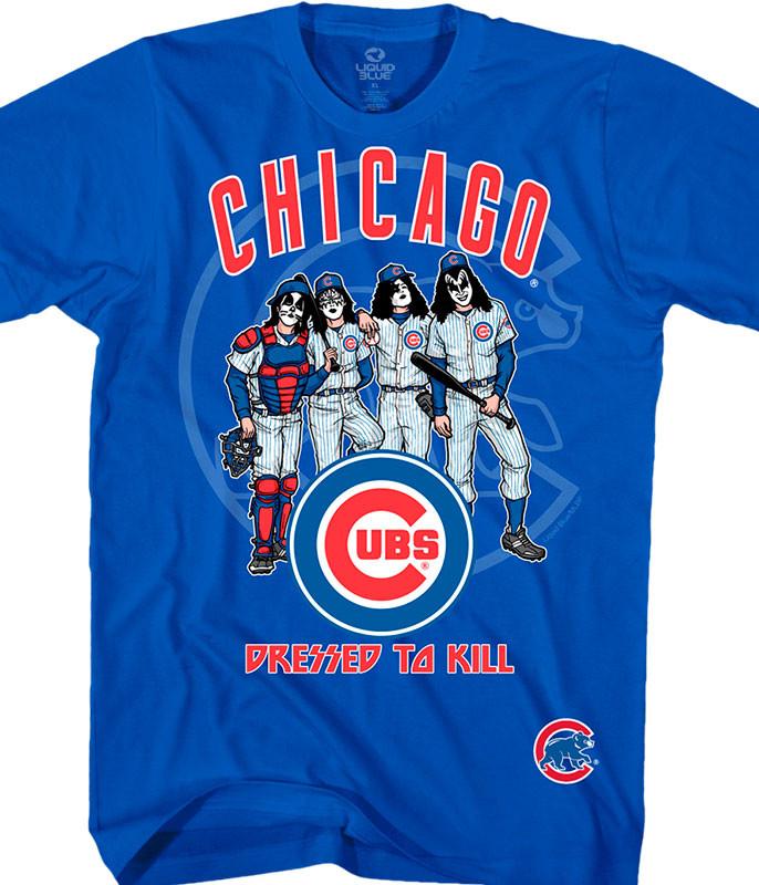 MLB Chicago Cubs KISS Dressed to Kill Blue T-Shirt Tee Liquid Blue
