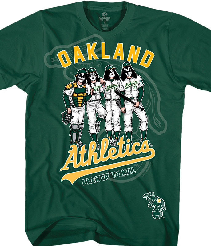 MLB Oakland Athletics KISS Dressed to Kill Green T-Shirt Tee Liquid Blue