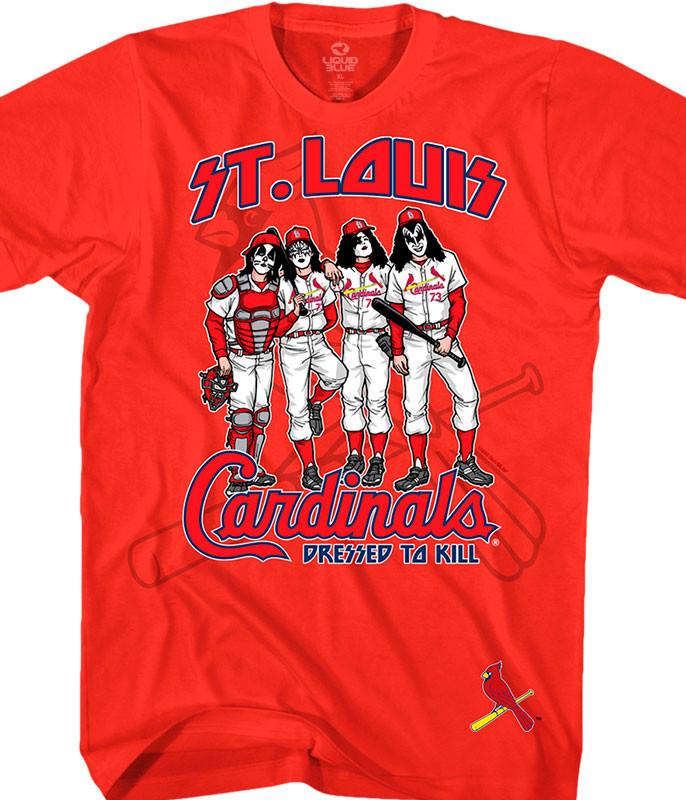 MLB St. Louis Cardinals KISS Dressed to Kill Red T-Shirt Tee Liquid Blue