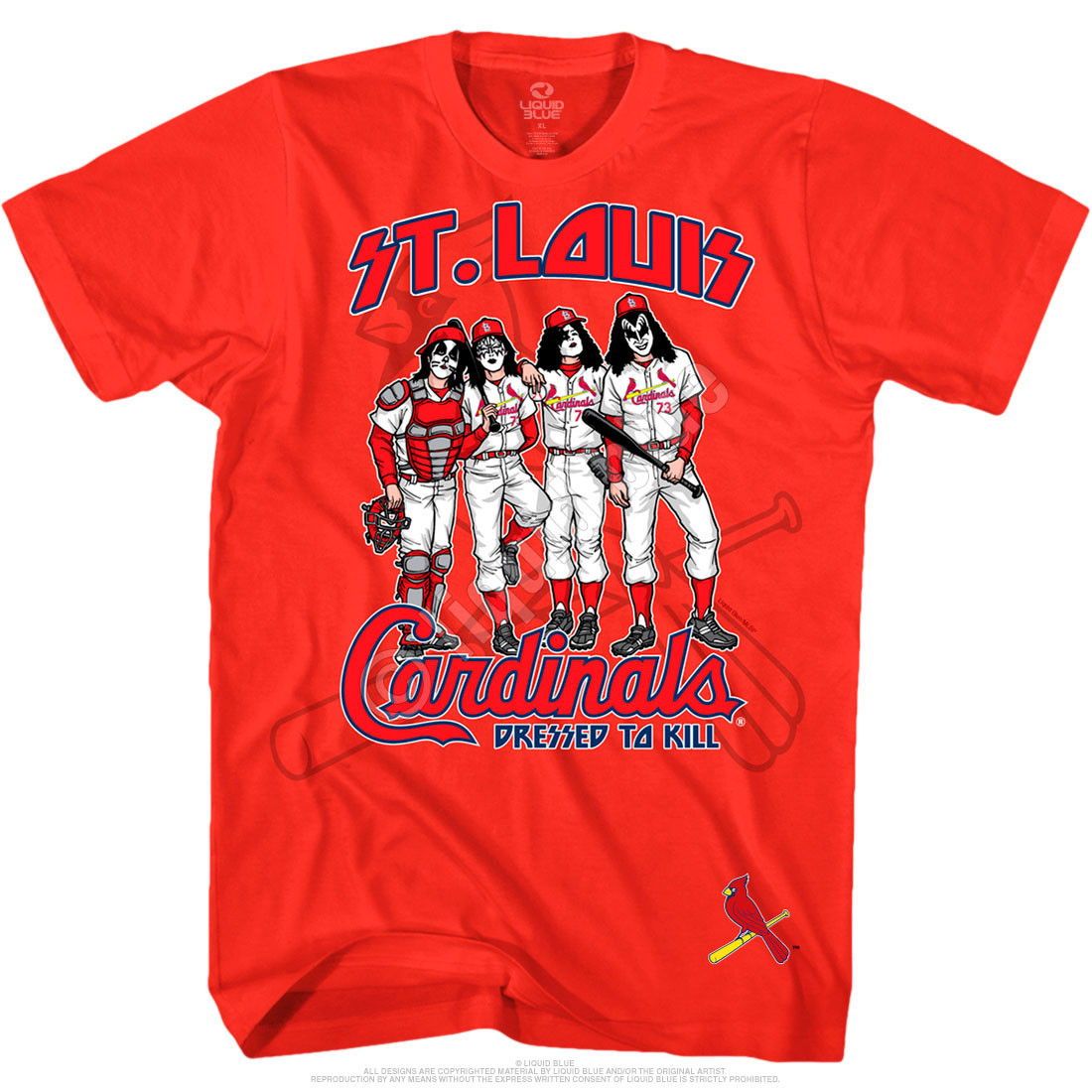 mlb st louis cardinals kiss dressed to kill red t shirt