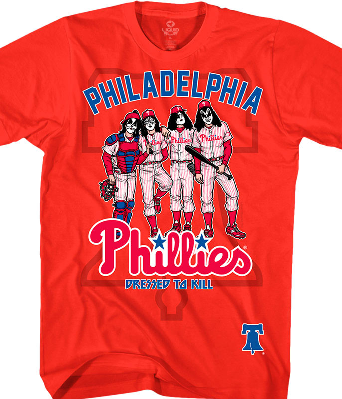 MLB Philadelphia Phillies KISS Dressed to Kill Red T-Shirt Tee Liquid Blue