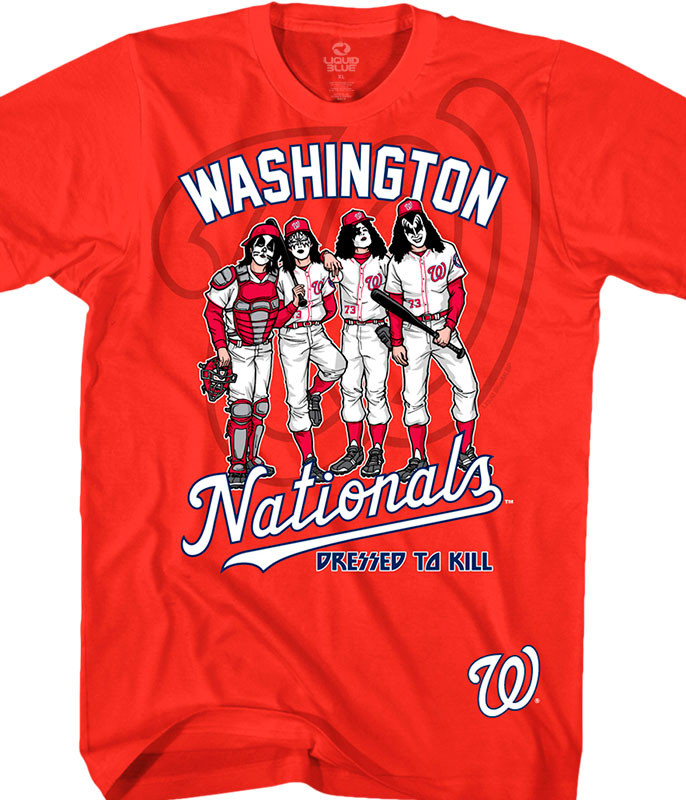 MLB Washington Nationals KISS Dressed to Kill Red T-Shirt Tee Liquid Blue