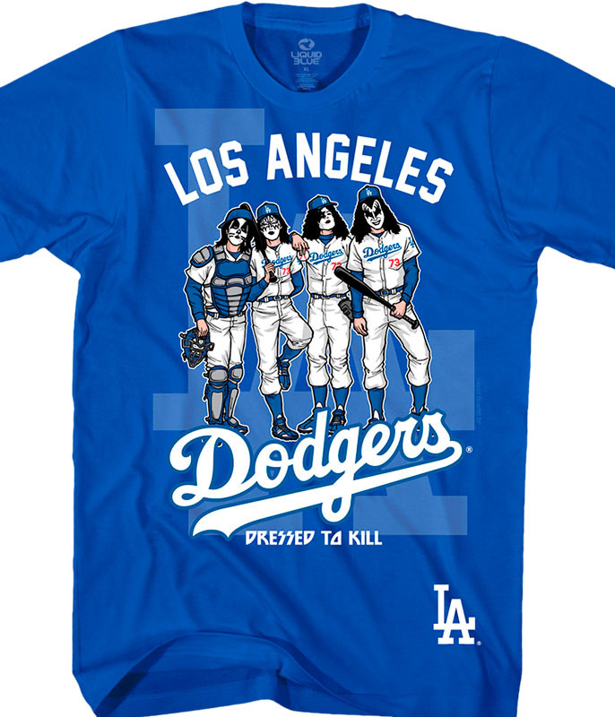 MLB Los Angeles Dodgers KISS Dressed to Kill Blue T-Shirt Tee Liquid Blue