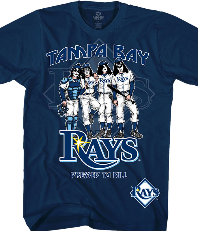 MLB Tampa Bay Rays KISS Dressed to Kill Navy T-Shirt Tee Liquid Blue