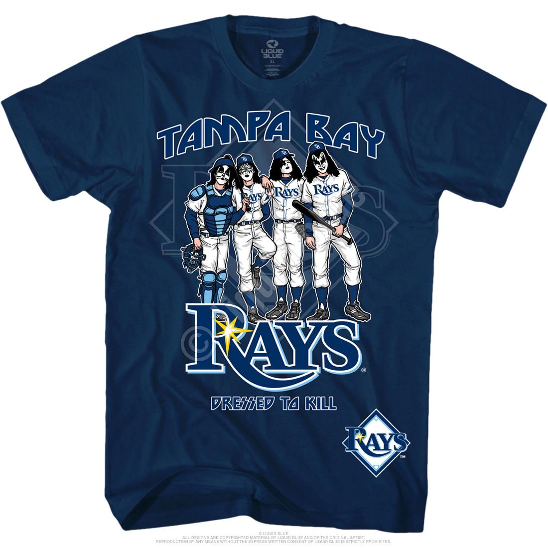 3167e35ec MLB Tampa Bay Rays KISS Dressed to Kill Navy T-Shirt Tee Liquid Blue