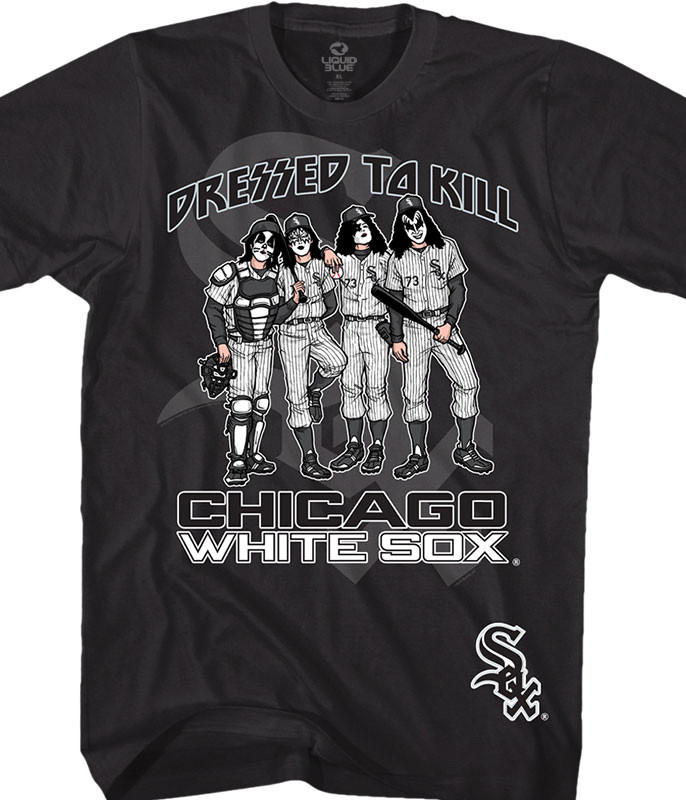 MLB Chicago White Sox KISS Dressed to Kill Black T-Shirt Tee Liquid Blue