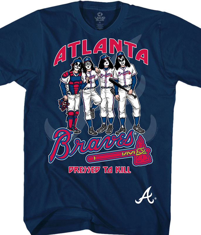 MLB Atlanta Braves KISS Dressed to Kill Navy T-Shirt Tee Liquid Blue