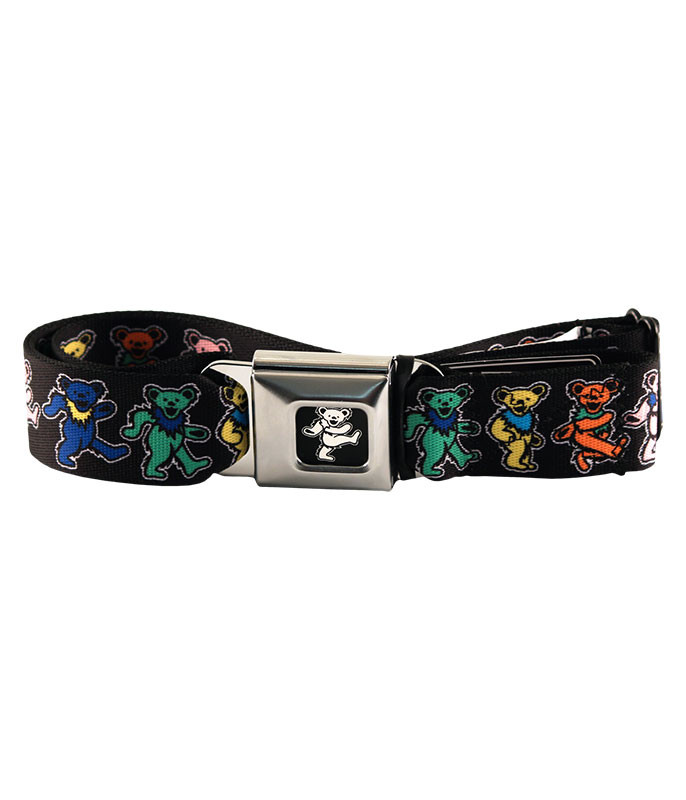 Grateful Dead Dancing Bear Seatbelt Belt Black