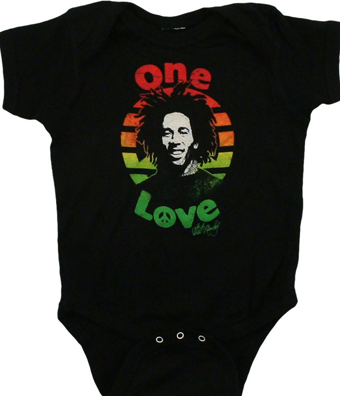 Bob Marley One Love Black Onesie