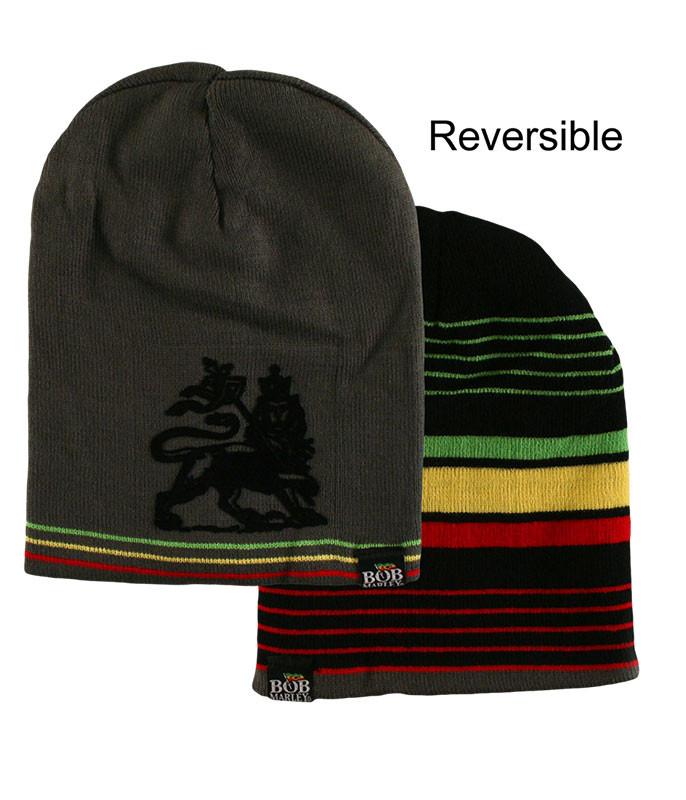 Bob Marley Rasta Stripe Reversible Beanie