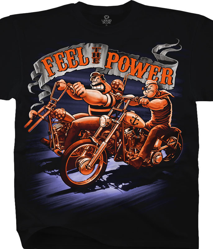 Popeye Feel the Power Black T-Shirt Tee Liquid Blue