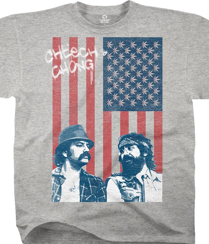 Cheech and Chong Red, White, Blue and Green Heather Grey Cotton Viscose T-Shirt Tee Liquid Blue