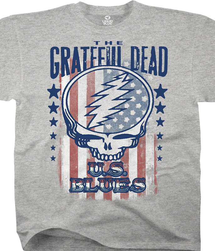 Grateful Dead U.S. Blues Heather Grey Poly-Cotton T-Shirt Tee Tee Liquid Blue