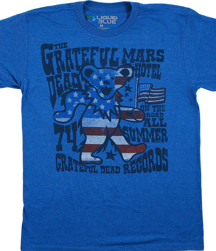 Grateful Dead Mars Hotel Blue Heather Poly-Cotton T-Shirt Tee Tee Liquid Blue