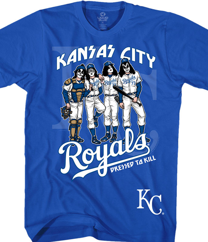 MLB Kansas City Royals KISS Dressed to Kill Blue T-Shirt Tee Liquid Blue