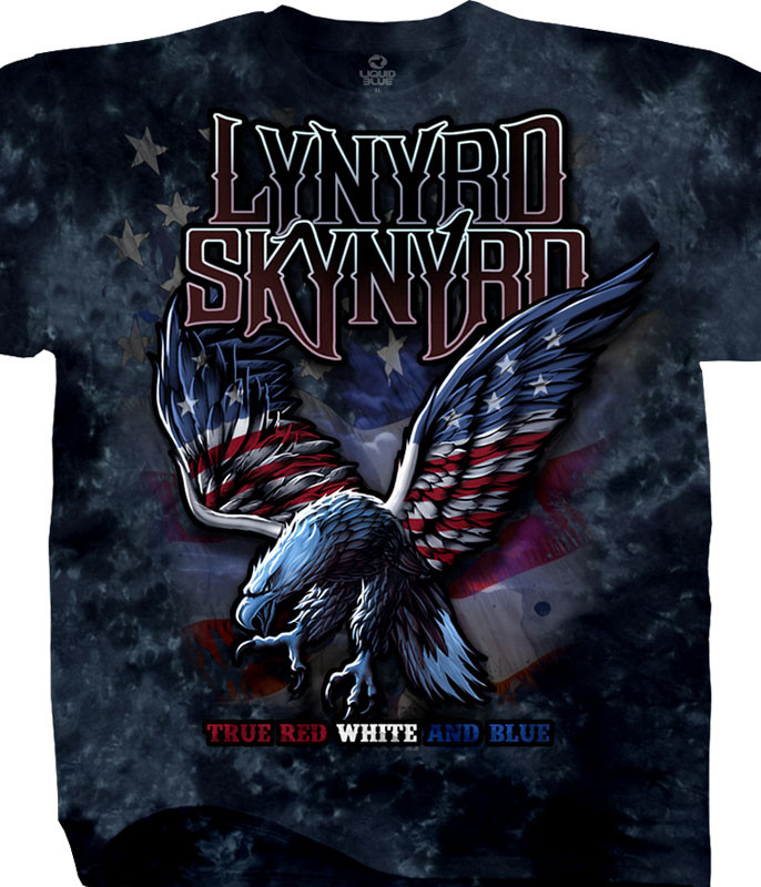 Lynyrd Skynyrd True Red, White & Blue Tie-Dye T-Shirt Tee Liquid Blue
