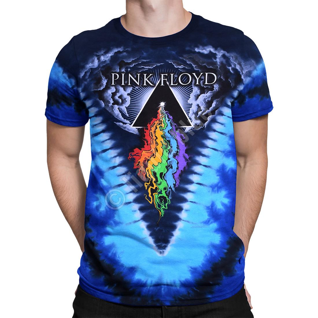 Pink Floyd Prism River Tie-Dye T-Shirt Tee Liquid Blue a68b63908