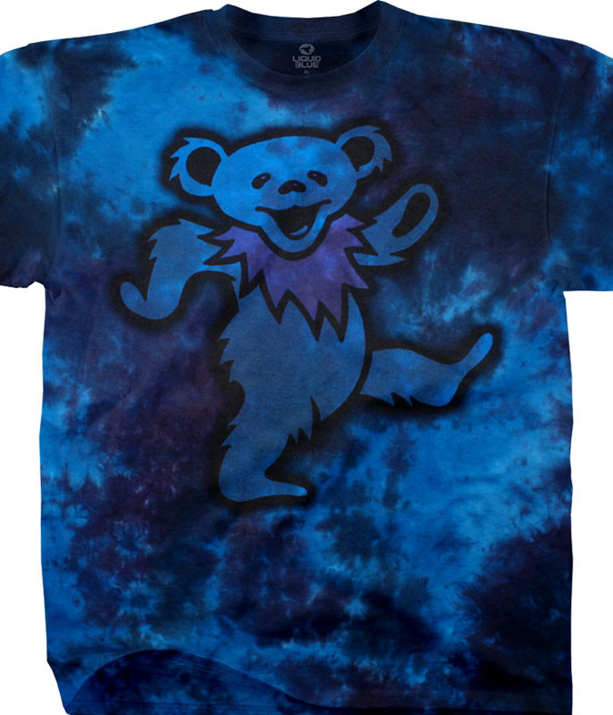Grateful Dead Big Bear Tie-Dye T-Shirt Tee Liquid Blue