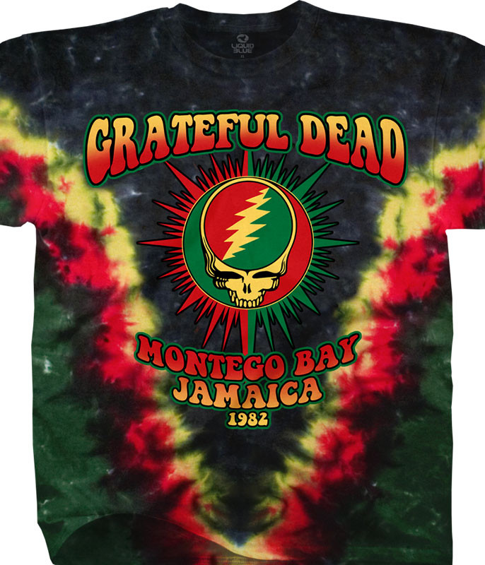 Grateful Dead Montego Bay Tie-Dye T-Shirt Tee Liquid Blue
