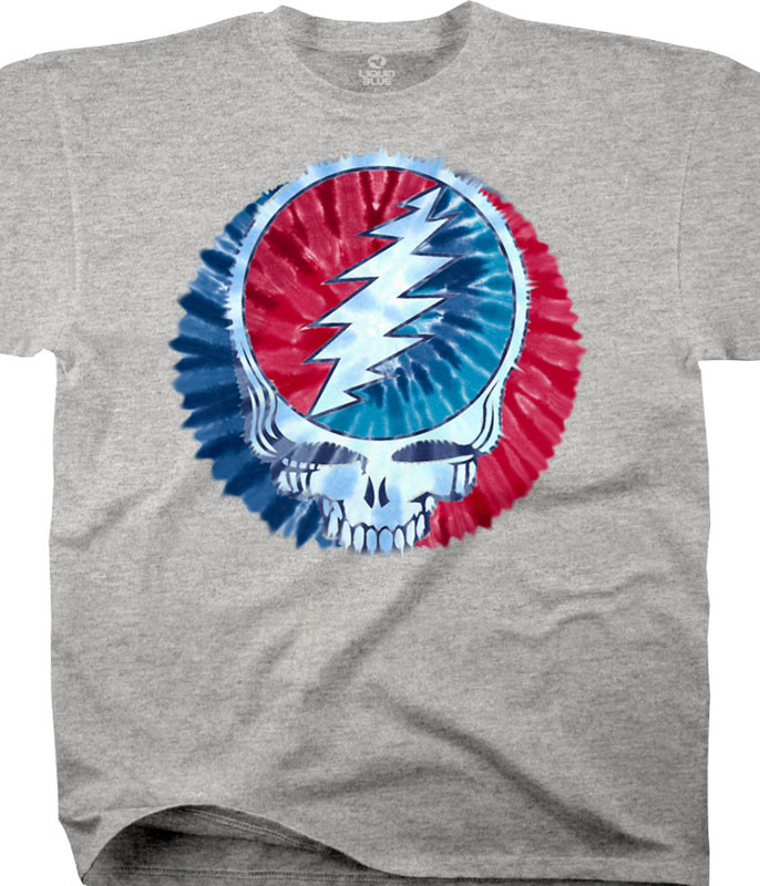 Grateful Dead Steal Your Dye Heather Cotton Viscose T-Shirt Tee Tee Liquid Blue