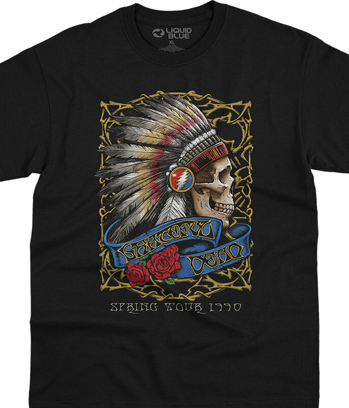 Grateful Dead Steal Spring Tour '90 Black T-Shirt Tee Liquid Blue