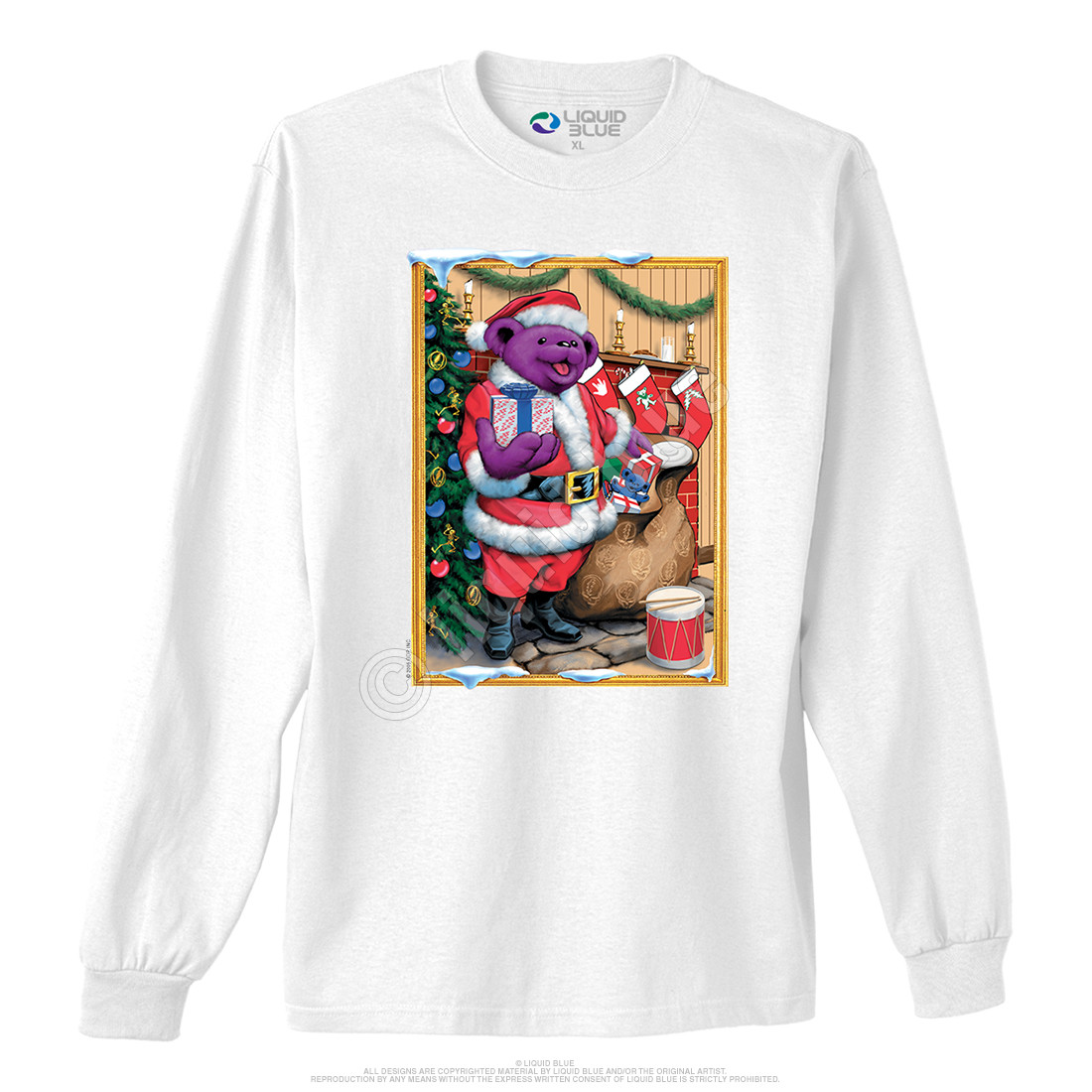 Santa Bear White Long Sleeve T-Shirt