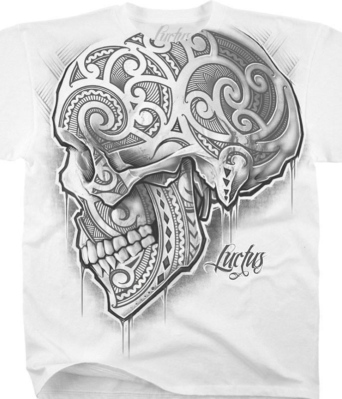 Luctus Skull de Luctus White T-Shirt Tee Liquid Blue