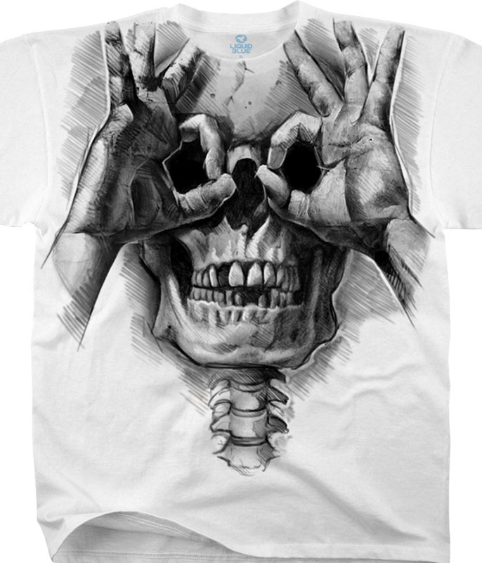 Skulls Peek-a-Boo White T-Shirt Tee Liquid Blue