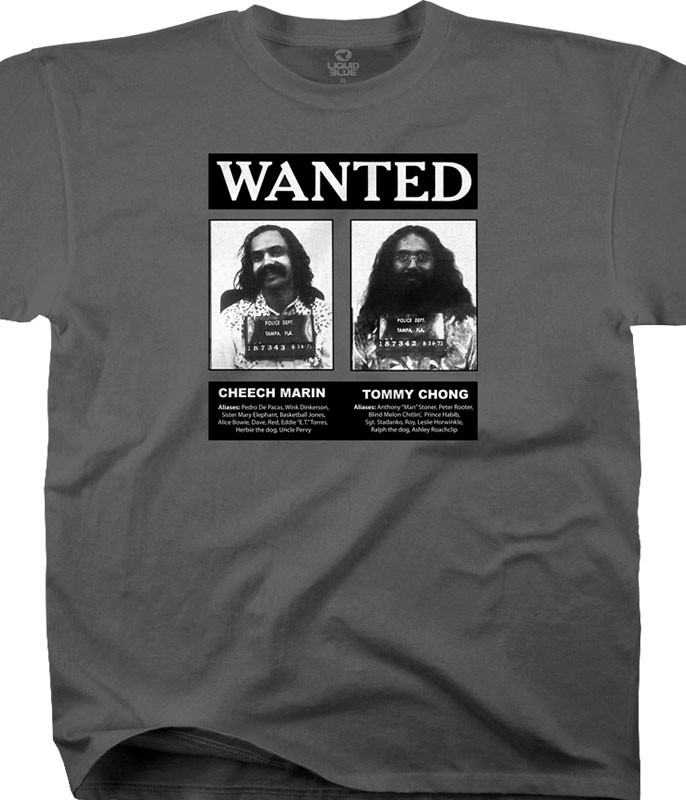 Cheech and Chong Wanted Grey Athletic T-Shirt Tee Liquid Blue