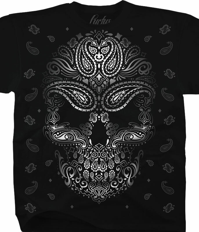 Luctus Bandana Skull Black T-Shirt Tee Liquid Blue