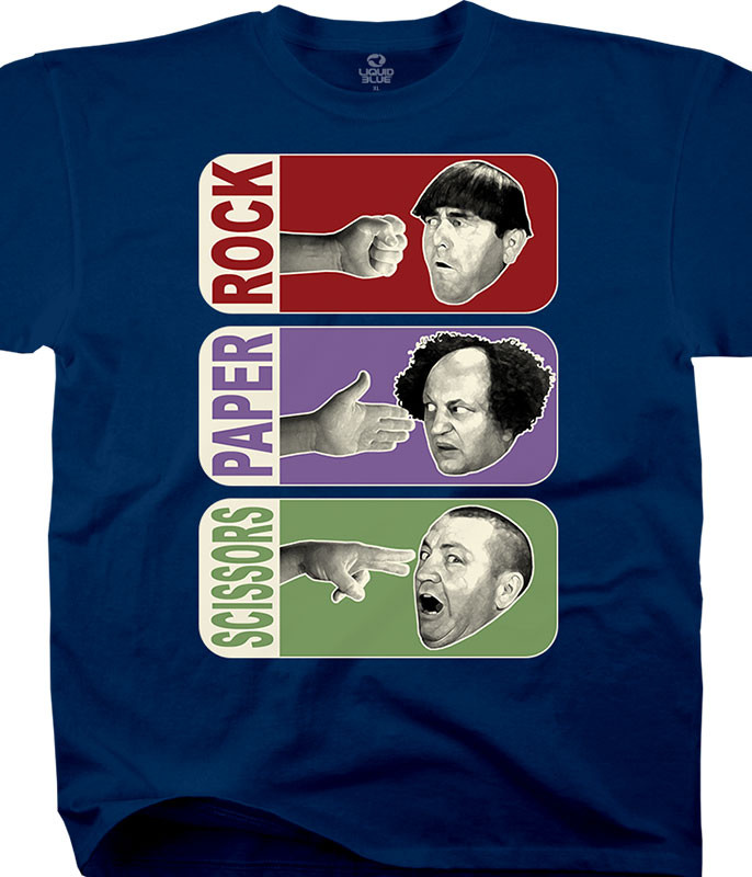 Three Stooges Rock Paper Scissors Navy T-Shirt Tee Liquid Blue