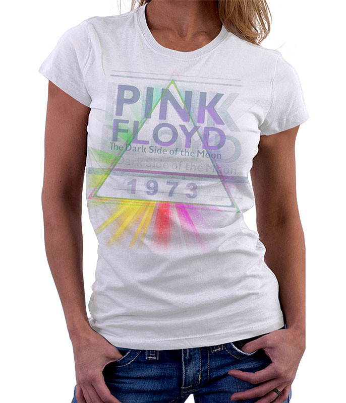 Pink Floyd Dark Side Mist White Womens Long Length T-Shirt Tee Liquid Blue