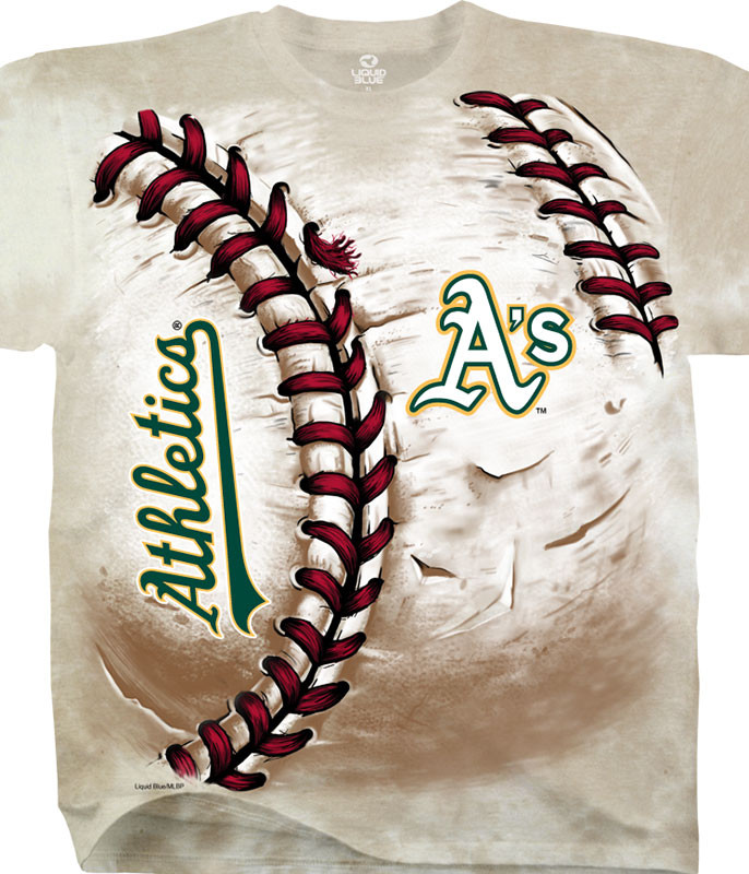 MLB Oakland Athletics Hardball Tie-Dye T-Shirt Tee Liquid Blue