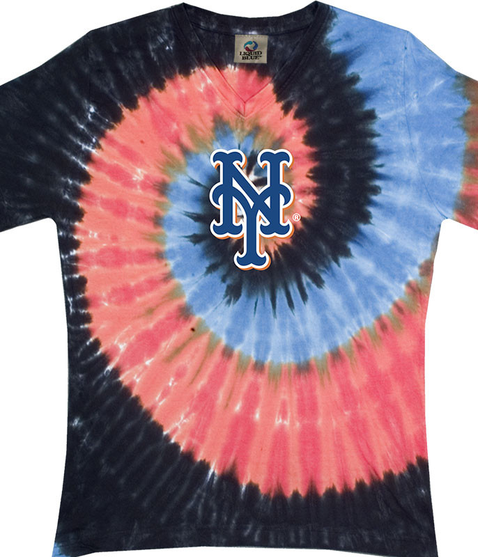 MLB New York Mets Spiral V Tie-Dye Juniors Long Length T-Shirt Tee Liquid Blue