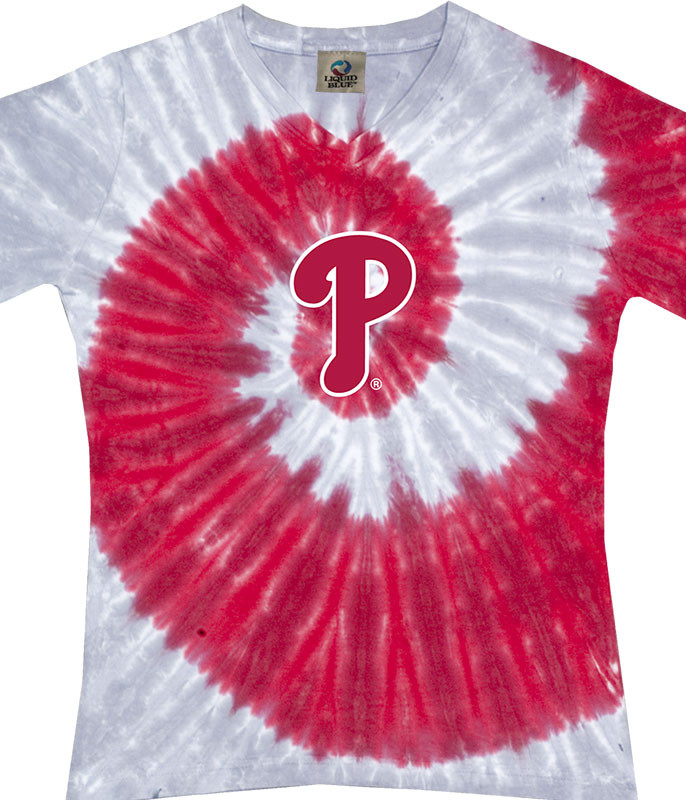 MLB Philadelphia Phillies Spiral V Tie-Dye Juniors Long Length T-Shirt Tee Liquid Blue