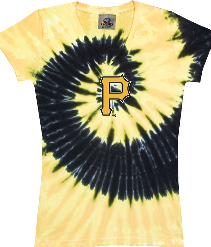 MLB Pittsburgh Pirates Spiral V Tie-Dye Juniors Long Length T-Shirt Tee Liquid Blue