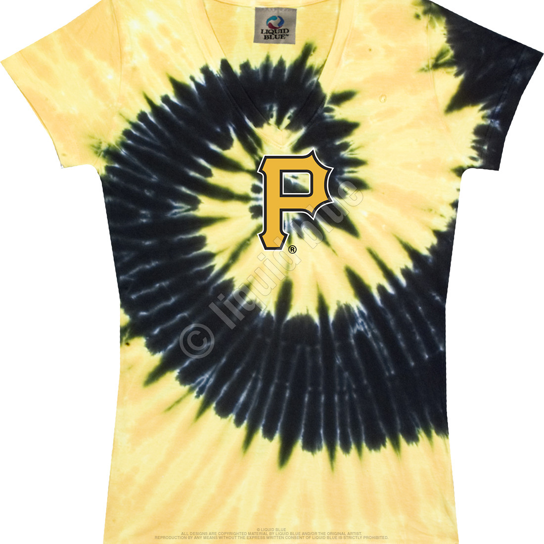 Pittsburgh Pirates Spiral V Tie-Dye Juniors Long Length T-Shirt