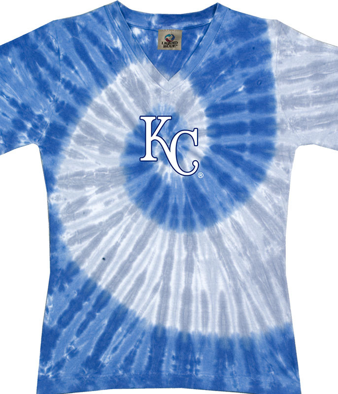 MLB Kansas City Royals Spiral V Tie-Dye Juniors Long Length T-Shirt Tee Liquid Blue