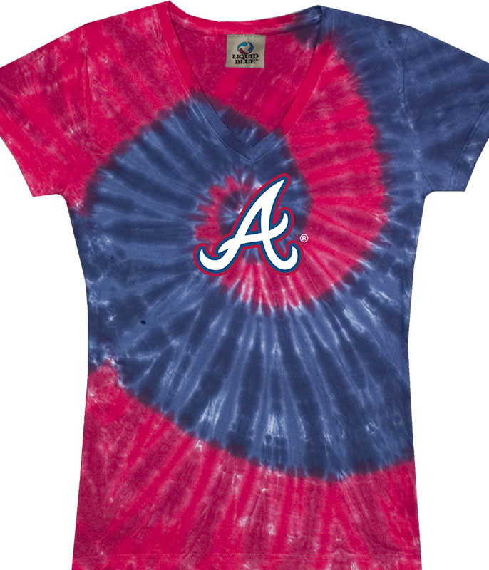 MLB Atlanta Braves Spiral V Tie-Dye Juniors Long Length T-Shirt Tee Liquid Blue
