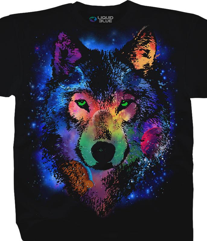 Cosmic Wolf Black T-Shirt