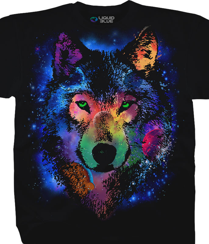 American Wildlife Cosmic Wolf Black T-Shirt Tee Liquid Blue