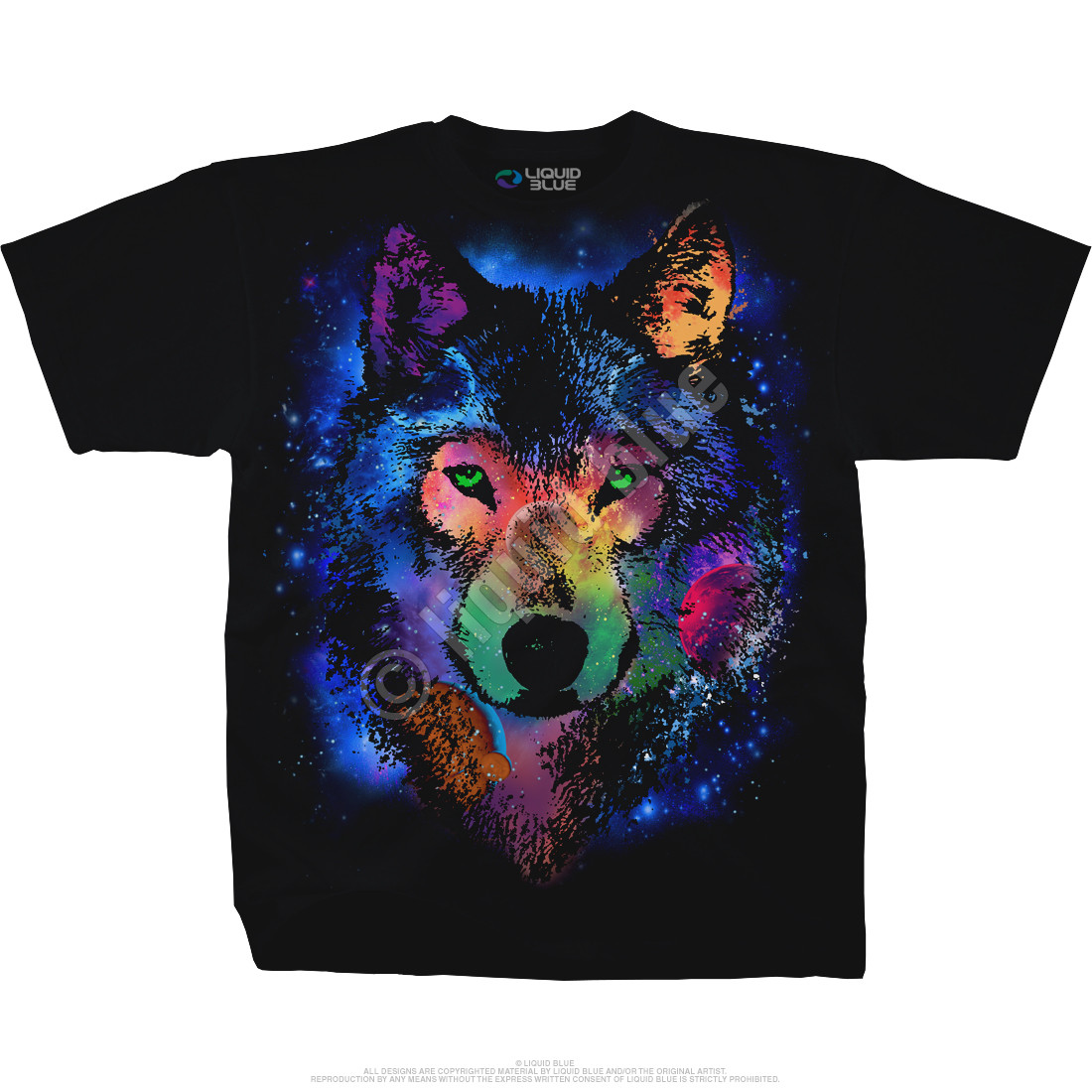 Cosmic Wolf Black T-Shirt