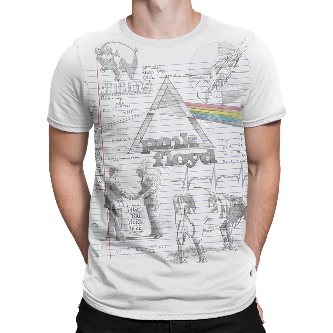 de33b7cc61b Pink Floyd Sketch White T-Shirt Tee Liquid Blue