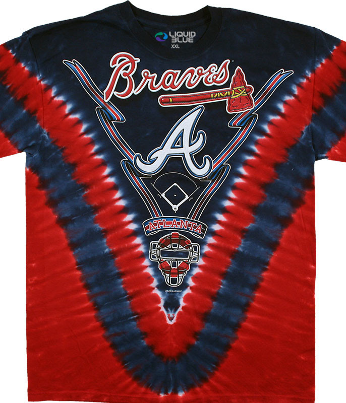 MLB Atlanta Braves V Tie-Dye T-Shirt Tee Liquid Blue