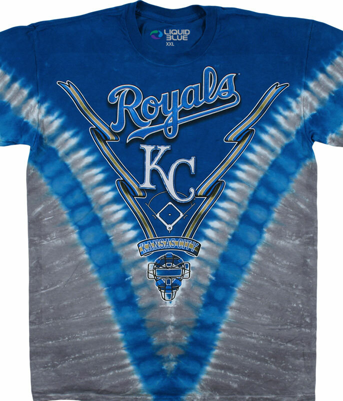 KANSAS CITY ROYALS V TIE-DYE T-SHIRT