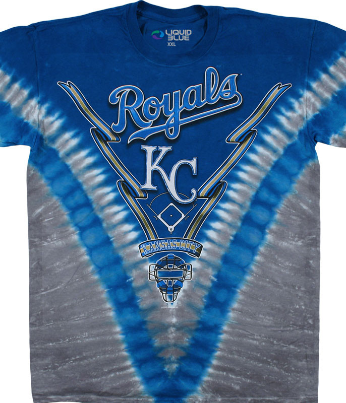 MLB Kansas City Royals V Tie-Dye T-Shirt Tee Liquid Blue