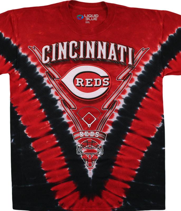 MLB Cincinnati Reds V Tie-Dye T-Shirt Tee Liquid Blue